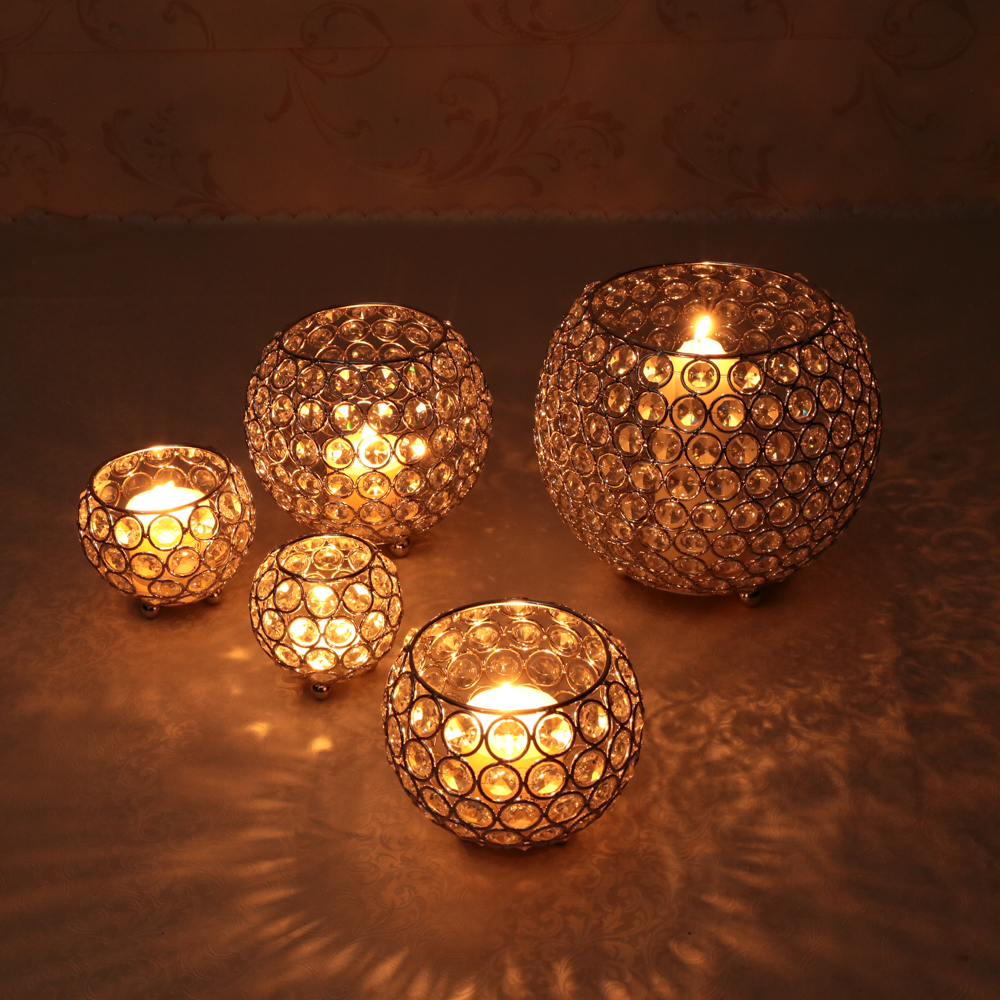 Crystal Tealight Candle Lantern Holders Candlesticks