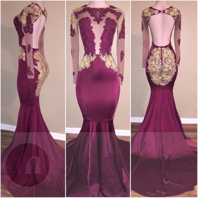 857c60e2dcd Trendy Burgundy Mermaid Prom Dress 2018 backless evening dress with long  sleeves formal party gown vestido de festa