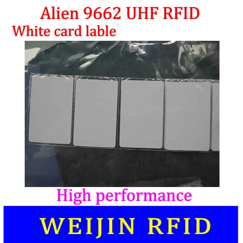 Alien authoried 9662 860-960MHZ UHF RFID Card Alien Higgs3 915M EPC C1G2 ISO18000-6C 54x86x0.9mm PVC card tag 1000pcs long range rfid plastic seal tag alien h3 used for waste bin management and gas jar management
