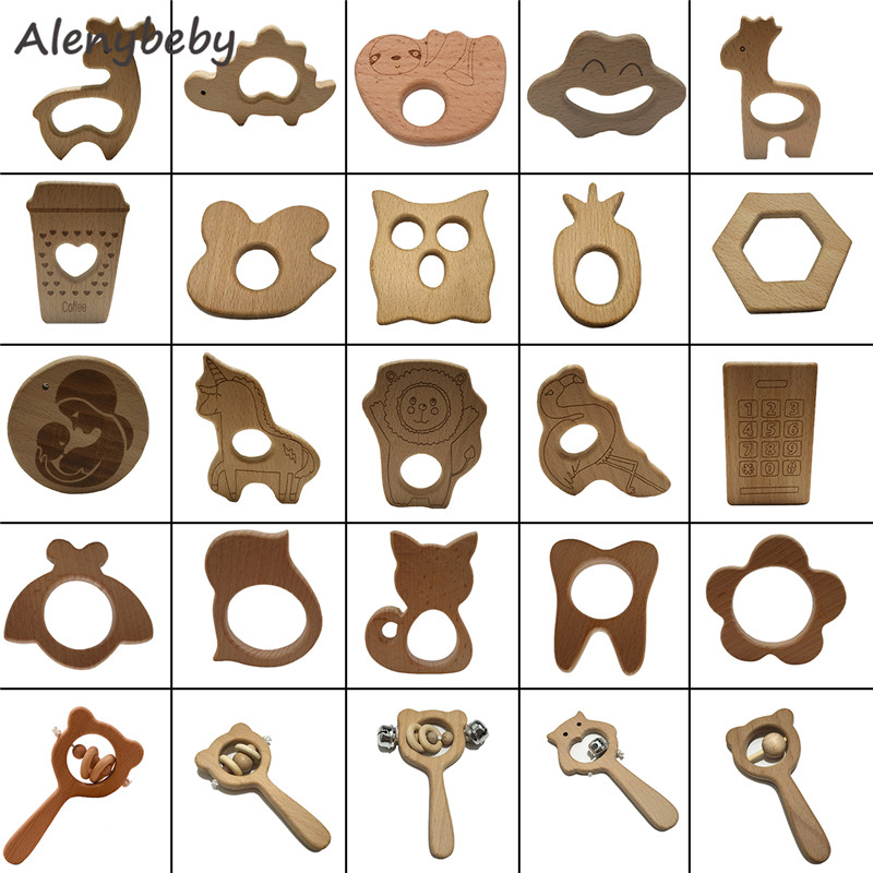 1pcs Baby Toys Beech Wood Bear Teether Hand Teething Wooden Ring Can Chew Beads Baby Rattles Play Gym Montessori Stroller Toys