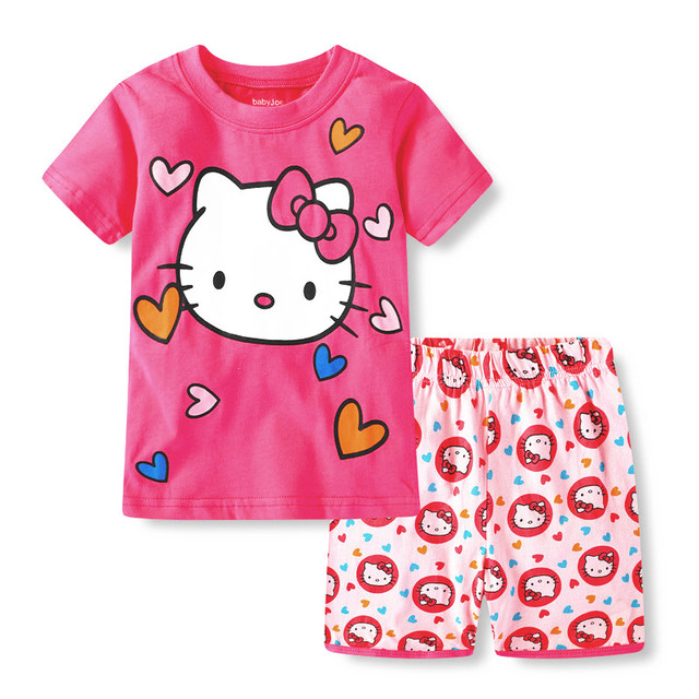 f6ba6be680ff Girls Pyjamas Cartoon Pajamas Cotton Short Sleeve Sleepwear For Girl ...