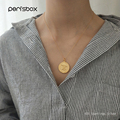 Peri'sBox 925 Sterling Sliver Coin Pendant Necklaces for Women Double Portrait Chain Chokers Gold Color Disc Layering Necklaces