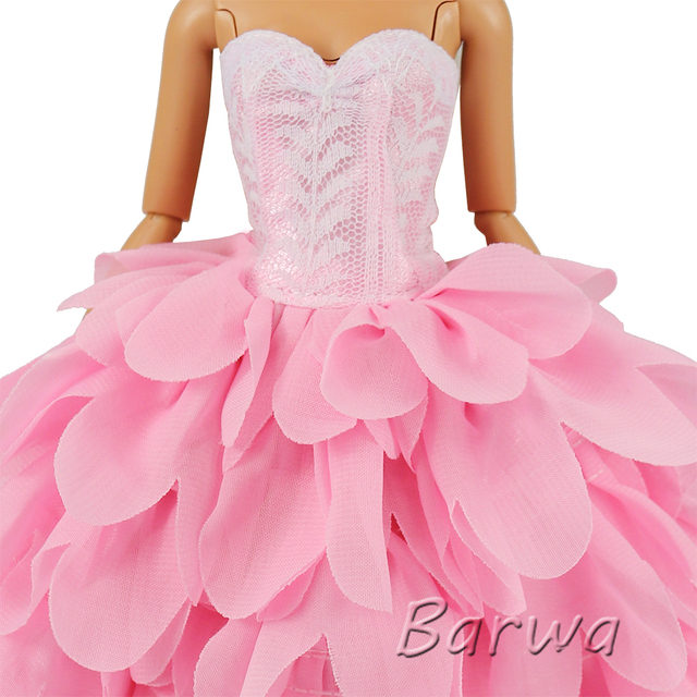 Newest Fashion Handmade Pink White Dress With Hat Wedding Evening Princess Party Clothes Doll accessories For Barbie Doll Gift 2