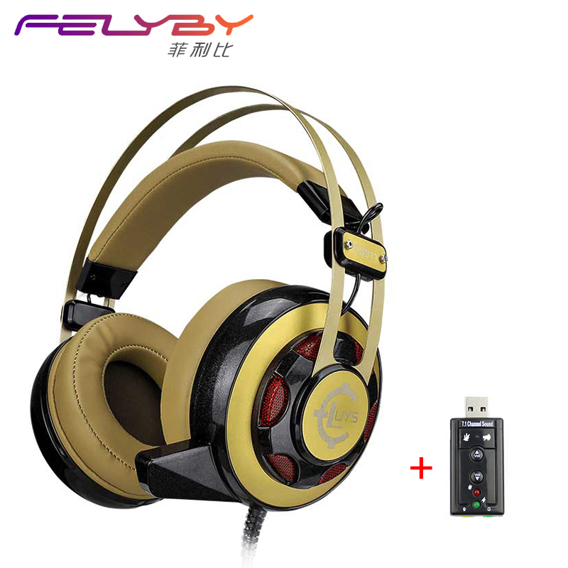 GS911 Cool Earphone Dual 3.5 + USB Luminous Shot Sound Recorder Popular Internet Bass Stereo LOL Professional Game Machine 911 7979 002