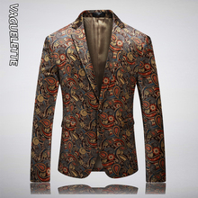 VAGUELETTE Paisley Floral Blazer For Men Fashion Single Button Elegant Printed Blazer Men Wedding Stage Singers Jacket Coat 5XL men houndstooth single button blazer