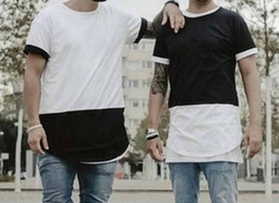 T-shirt d'été Style homme noir avec t-shirts blancs t-shirt Style Streetwear Hip Hop t-shirt étendu