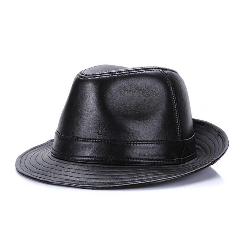 Automne hiver chapeau à Large rebord élégant en cuir peau de mouton en cuir chapeau hommes fedora unisexe rue cool Cowboy chapeau