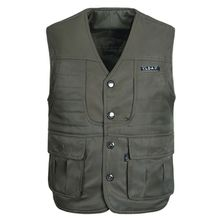 new Spring and autumn casual vest men multi-pocket  photography plus cotton thick