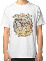Margaridas Flores Feminista gatos Contra as Chamadas de Gato Branco dos homens T-shirt da Camisa Roupas