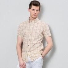 Сезон: весна–лето Для мужчин рубашка короткий рукав хлопок рубашка Slim Рубашки домашние муж. новая мода человек Топы корректирующие Мужская одежда Camisa De Hombre