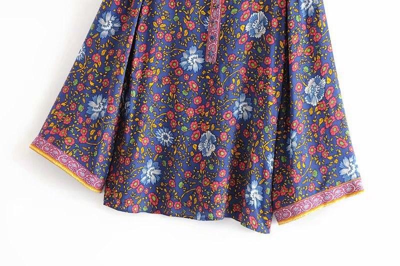 Bleu Décontractés Dj8220 Hauts Imprimé Chemise Ethnique Vintage Coton Floral Flare Couleur Pour Femme Femmes Printemps En Stand Manches Mince Blouse HRxn17qw