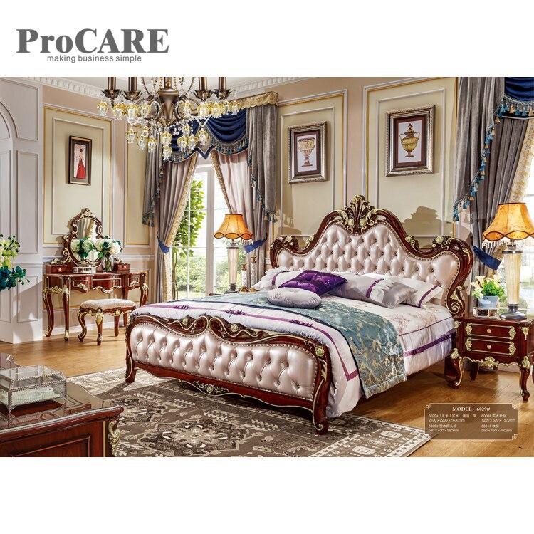 Lit de rangement en cuir de tête de lit moderne rembourré Super King Size lits avec tiroir à vendre-6029