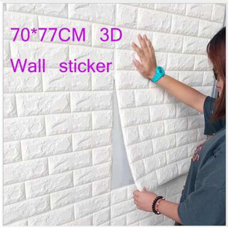 70*77 CM DIY Self Adhensive 3D Brick Wall Stickers Living Room Decor Foam Waterproof Wall Covering Wallpaper For Kids Room