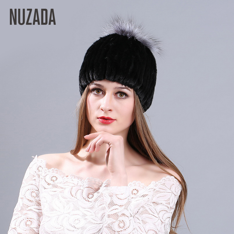 Brand NUZADA Mink Fur Fox Fur   Skullies     Beanies   Women Lady Girl Knitted Hat Caps Fashion Warm Autumn Winter Cap