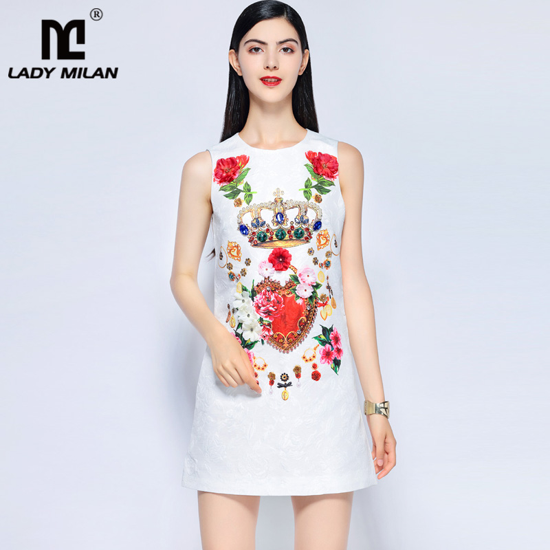 Lady Milan Womens O Neck Sleeveless Appliques Beaded Floral Printed Sequined Dobby Fashion Designer Short Runway Dresses