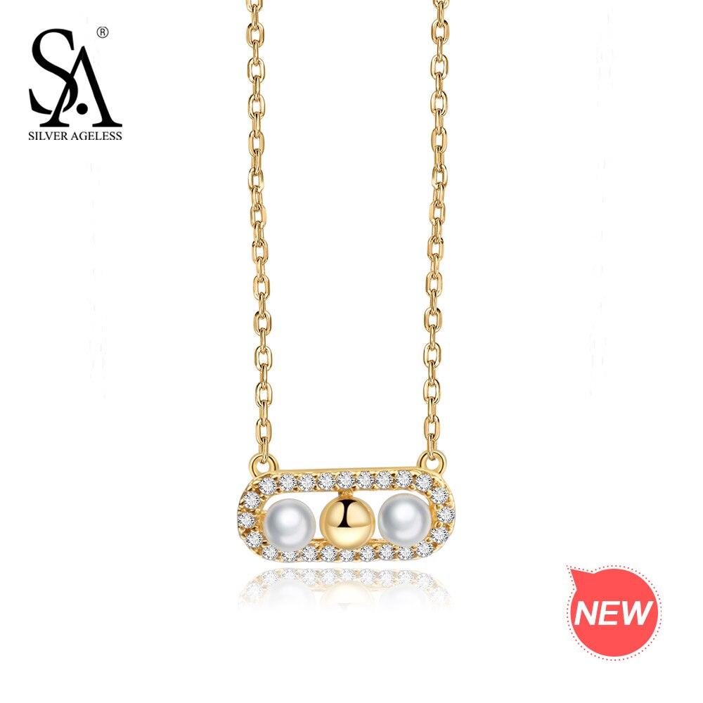 ARGENT SANS ÂGE 9 k Or Jaune Pendentif Collier pour les Femmes Shell Perle Colliers AAA Zircone Colliers de Foulards Pour Les Femmes Amant