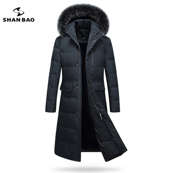 Fashion leisure zipper pocket fox fur hooded down jacket luxury high quality men 2019 winter thick warm long paragraph parka