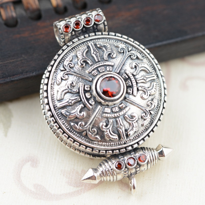 Gawu box S925 silver pendant wholesale silver antique style Buddhist Shurangama mantra can open the evil spirits