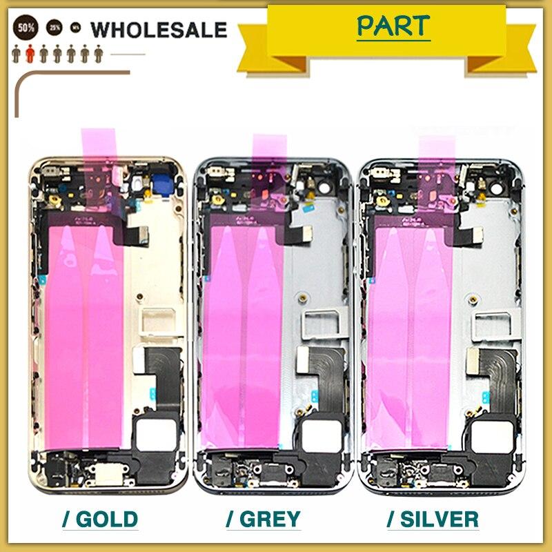 NUEVA cubierta de la batería para el IPhone 5 5g 5S SE batería caso de la puerta medio marco bisel chasis de la contraportada + Flex Cable + Imprimir IMEI