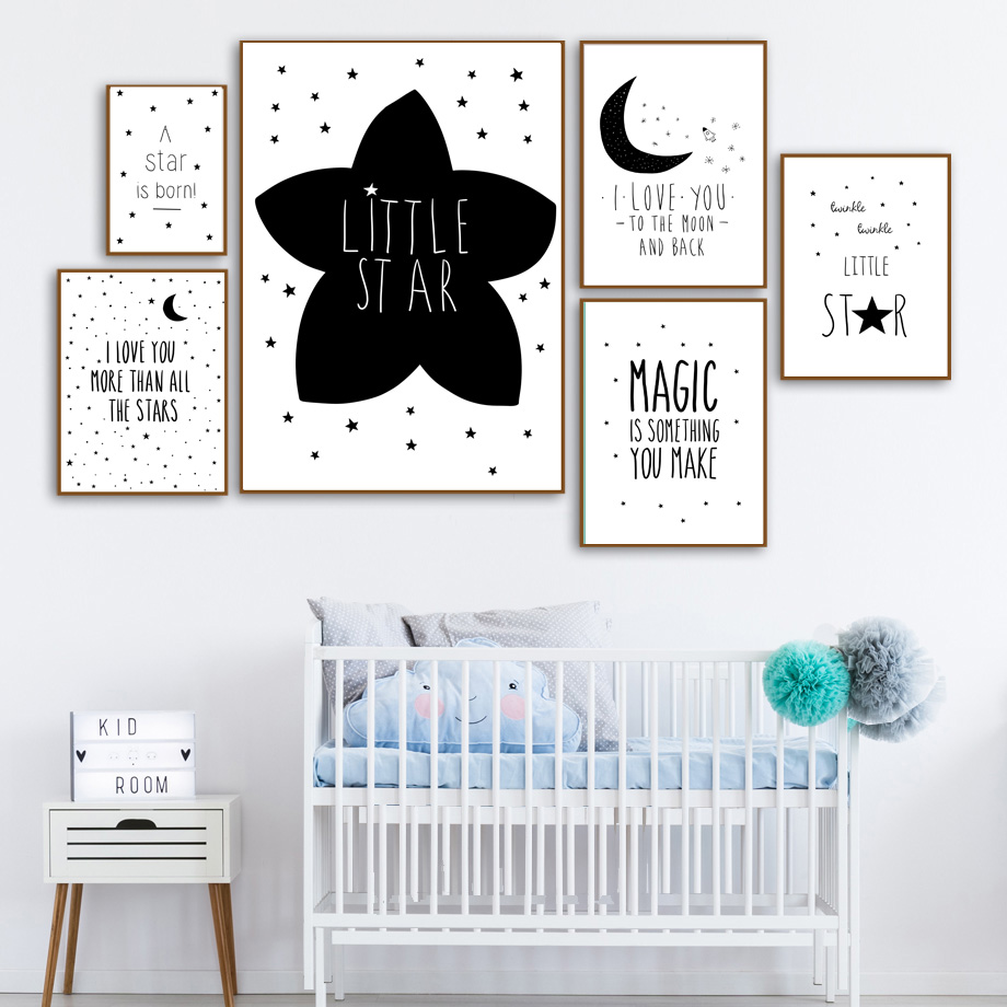 Cartoon Star Moon Magic Quotes Wall Art Canvas Painting Nordic Posters And Prints Black White Wall Pictures Baby Kids Room Decor