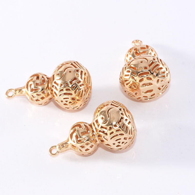 (31900)6PCS 23*13MM 24K Champagne Gold Color Brass Gourd Charms Pendants High Quality Diy Jewelry Findings Accessories wholesale