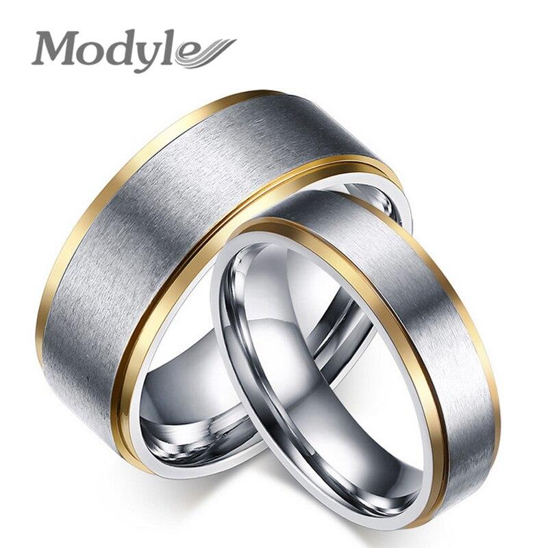 Modyle Gold-Farbe edelstahl seine und ihre versprechen ring die paar hochzeit ringe für frauen und männer