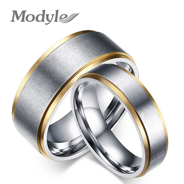 56026fe7eeb8e US $1.99 50% OFF|Modyle Gold Color stainless steel his and her promise ring  the couple wedding rings for women and men-in Rings from Jewelry & ...