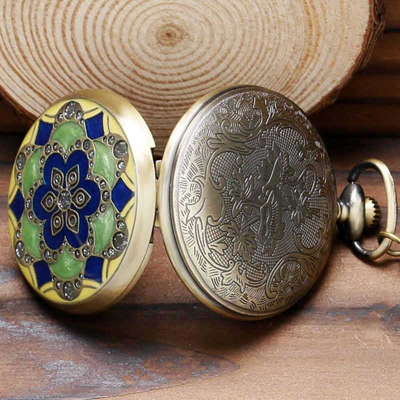 Зеленый нефритовый Бронзовый старинные карманные часы Цепочки и ожерелья с подвесками цепи Для мужчин подарок P52