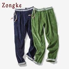 Zongke, китайский стиль, вельветовые шаровары, мужские спортивные штаны, мужские повседневные винтажные штаны, Мужские штаны в стиле хип-хоп, уличная одежда,, весна, Новинка