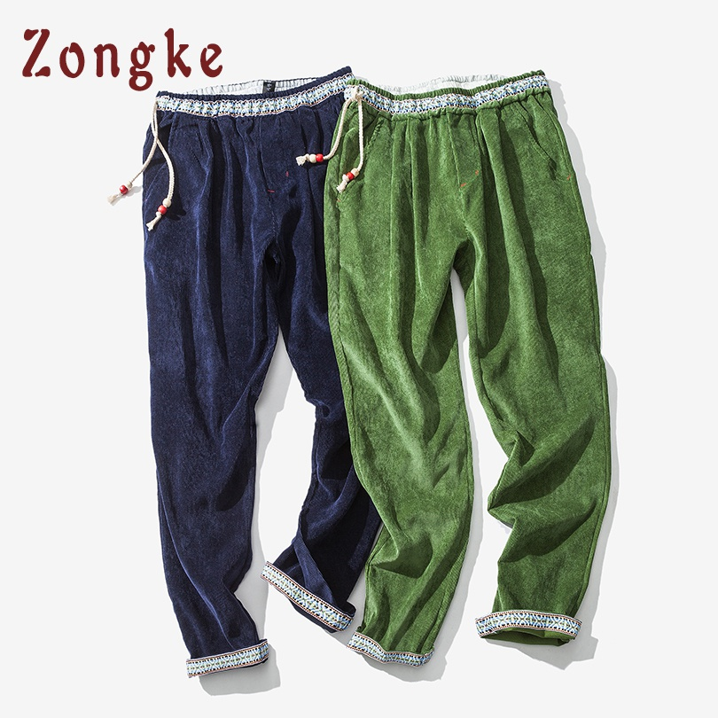 Zongke Chinese Style Corduroy Harem Pants Men Sweatpants Man Casual Vintage Pants Men Hip Hop Streetwear Pants 2019 Spring New