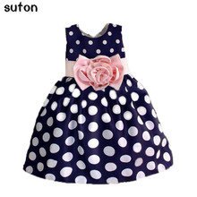 Hot Sale Christmas Super Flower Girls Dresses for Party Wedding Bow Dot Print Kids Princess Dress Fashion Children's Clothing