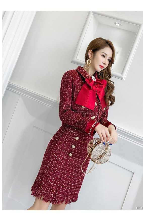 f5c9a3a90d ... Newest Autumn Gold Love Button Pocket Red Tweed 2 Piece Set Winter  Women Diamonds Bowknot Short