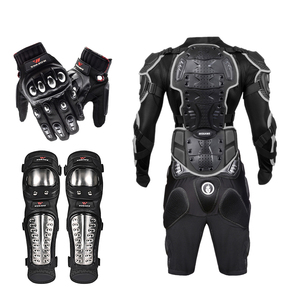 Image 2 - WOSAWE Off Road Motorcycle Armor Alloy Stainless Steel Racing Protective Gear Motorcycle Jacket+Shorts Pants+Knee Pads+Gloves