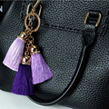 2 pcs/lot Fashion Colorful Key Chain Bag AccessoriesIce Silk Tassel Pompom Car Keychain Handbag Key Ring Holder Retro Jewelry