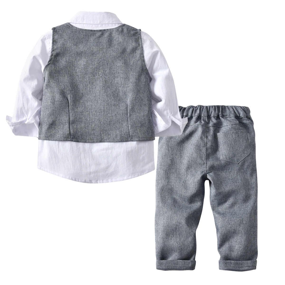 子供たちはブレザーの 2019 秋の男の赤ちゃんシャツオーバーオールコートネクタイボーイズ結婚式のための正式なパーティーの子供服