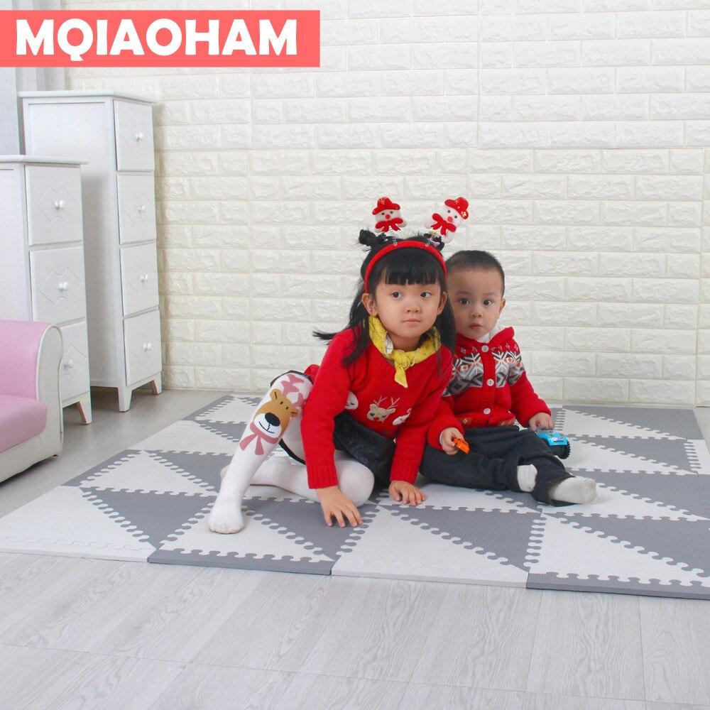 MQIAOHAM Baby Puzzle EVA Foam Mat Children Crawling Play Mat Kids Game Mats Gym Soft Floor Game Carpet triangle 35CM*1CM GREY