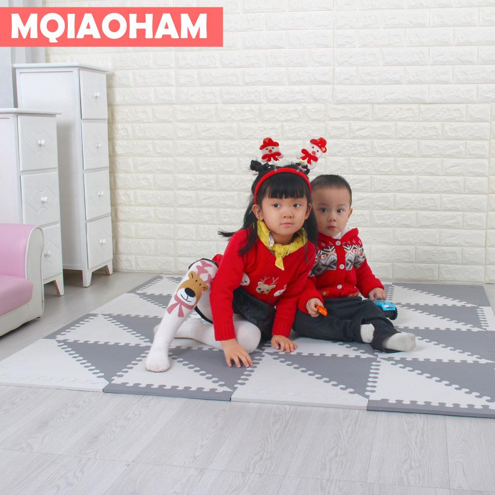 MQIAOHAM bébé Puzzle EVA mousse tapis enfants ramper tapis de jeu enfants tapis de jeu Gym sol doux jeu tapis triangle 35 CM * 1 CM gris