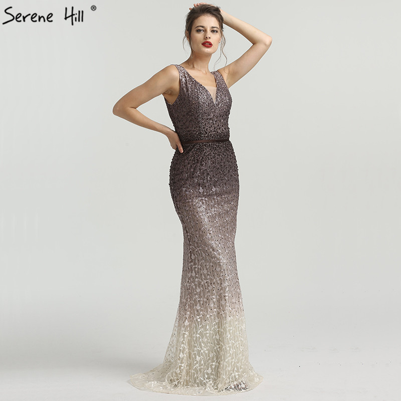2019 New V-neck Mermaid Sleeveless Evening Dresses Embroidery Crystal Sexy Fashion Evening Gowns Real Photo La6572 Crazy Price Weddings & Events