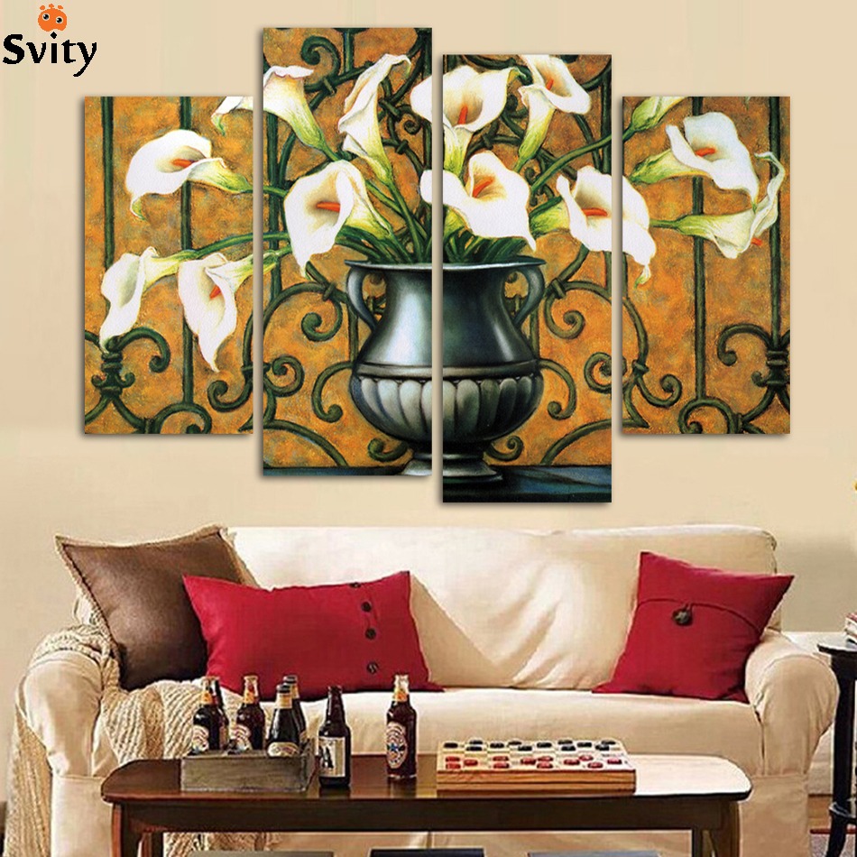 Modern Wall Paintings Living Room Aliexpresscom Buy 4 Pcs Set Combined Flower Oil Paintings