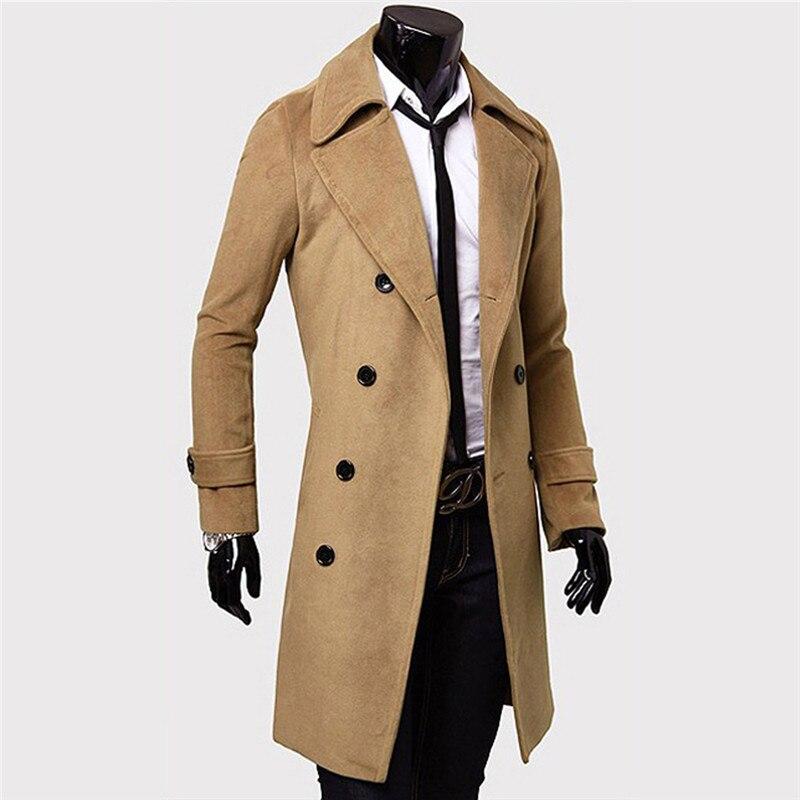 2018 Mode Männer Slim Fit Trenchcoat Winter Zweireiher Drehen-unten Kragen Mantel Lange Jacke Plus Größe Männliche Warme Mantel