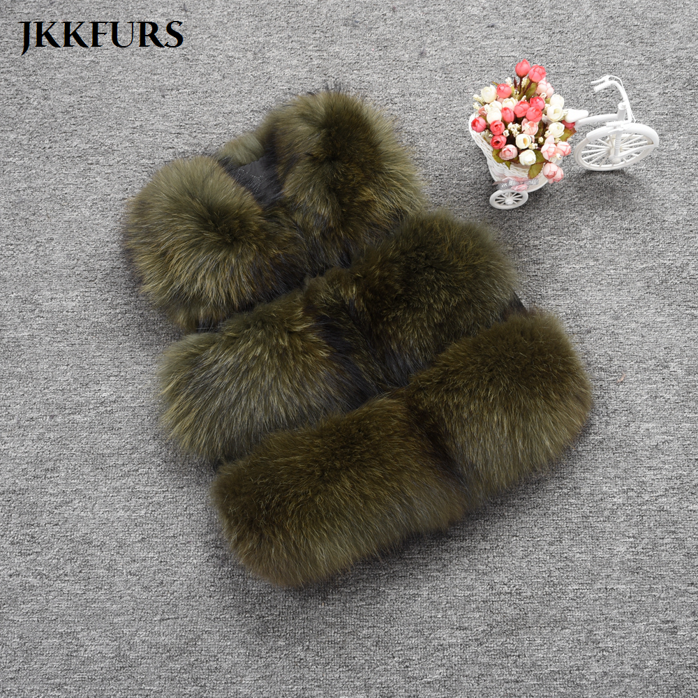 JKKFURS 2019 Fashion Style Women Real Raccoon Fur Vest Winter Warm Fashion Gilet Waistcoat New 3