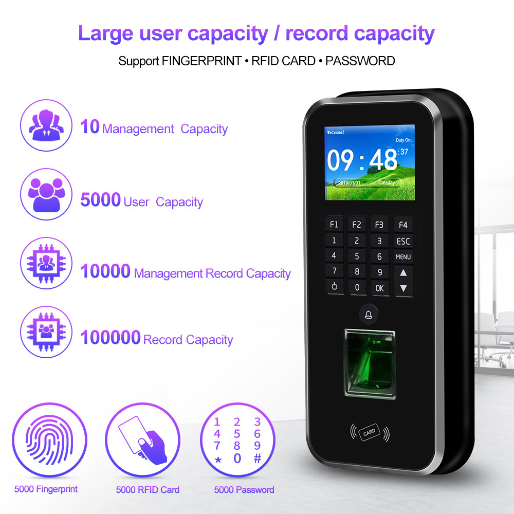 Image 3 - Password Access Control System RFID Keypad Fingerprint Biometric Attendance Machine Time Clock Recorder TCP/IP/RS485 USB Realand-in Fingerprint Recognition Device from Security & Protection