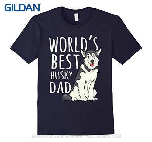 GILDAN Summer Short Sleeves Cotton Fashion Mens Worlds Best Siberian Husky Dad Dog Cool Father Day Gift Tee