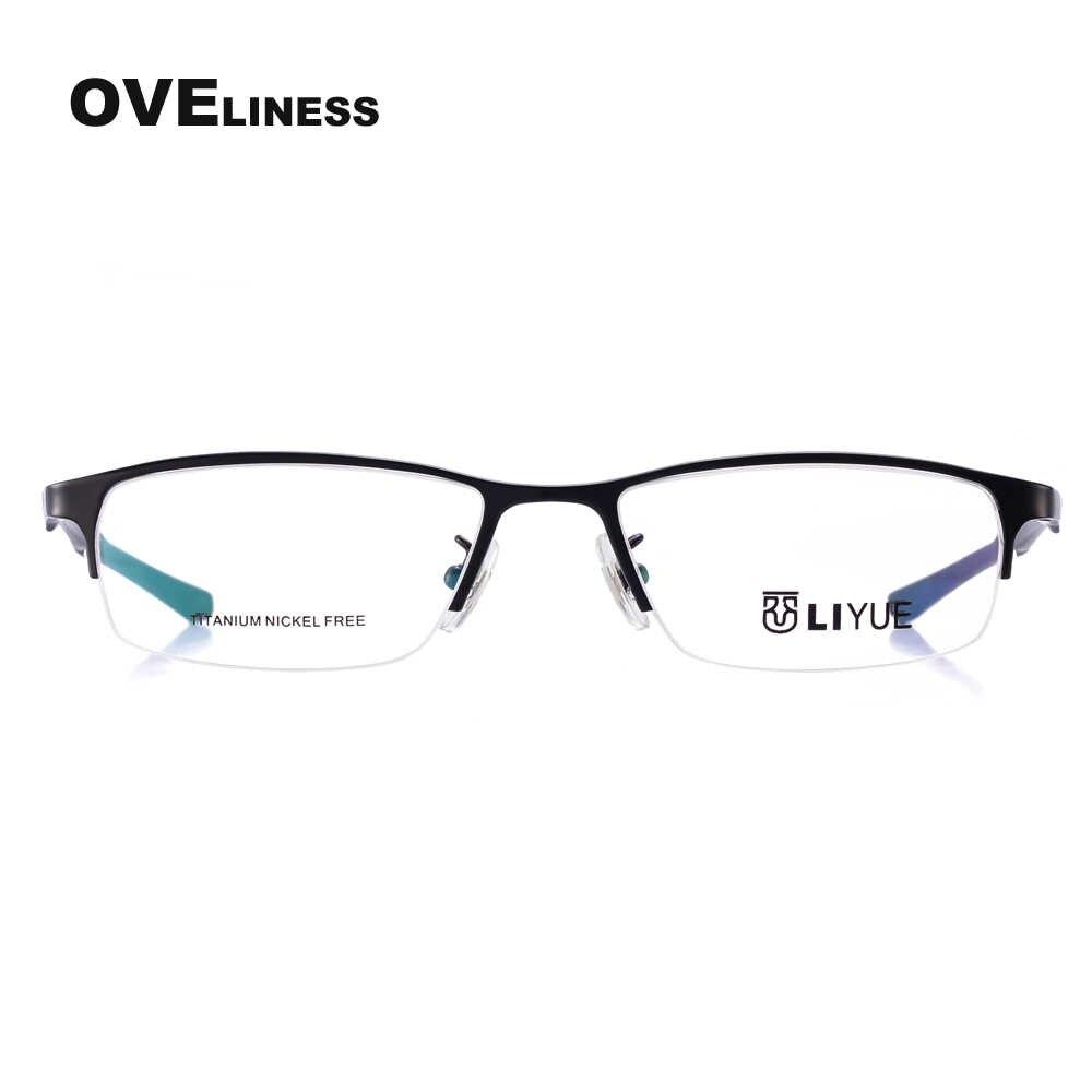e480844a135d ... pure titanium eyeglasses frames men optical glasses half rim eye  glasses frames for men prescription spectacles ...