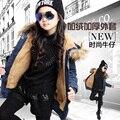 4-14a roupa das Crianças casacos de inverno meninas criança denim outerwear amassado top jaqueta de algodão acolchoado-além de veludo espessamento jaqueta