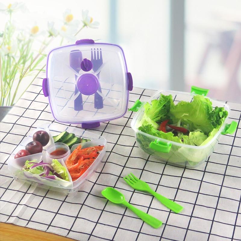 BAISPO пластиковый Ланч-бокс, контейнер для еды, портативный Кухонный Контейнер для хранения, студенческий детский Ланчбокс, овощной фруктовы...