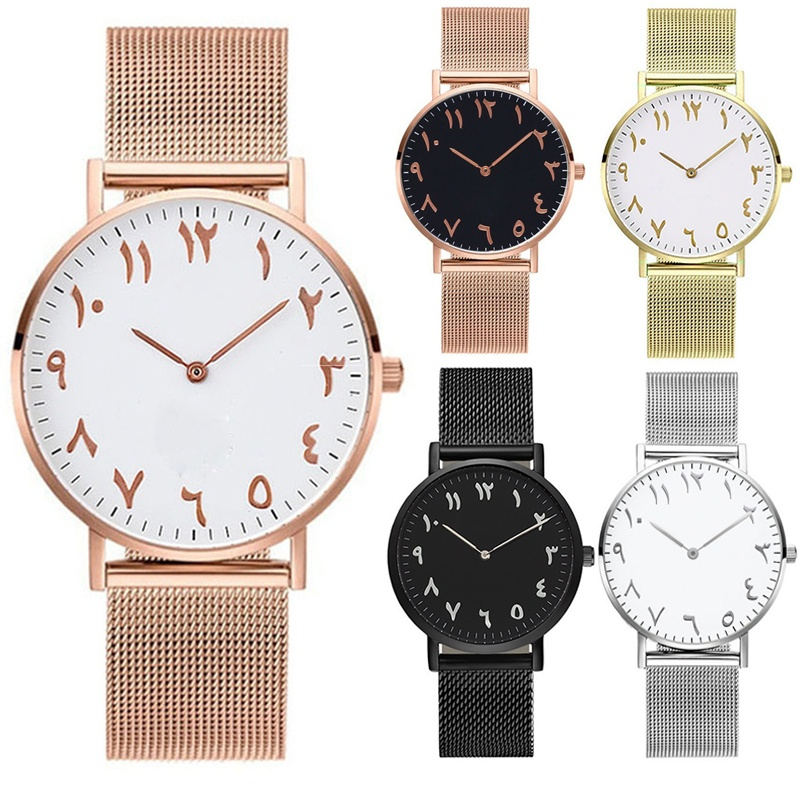 REOULIONS Luxury Fashion números árabes Rose Gold Women Watches - Relojes para mujeres