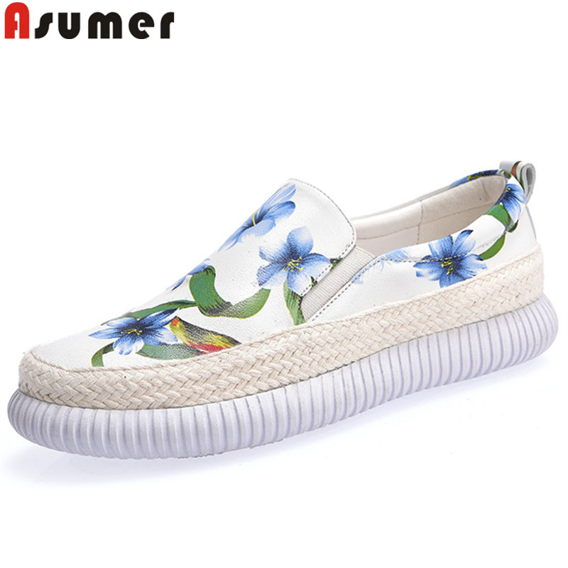 2018 new women leather shoes woman single shoes shallow round tow spring autumn ballet flats shoes women casual shoes ASUMER fashion spring autumn shoes woman round toe shallow flat platform shoes casual genuine leather shoes women flats
