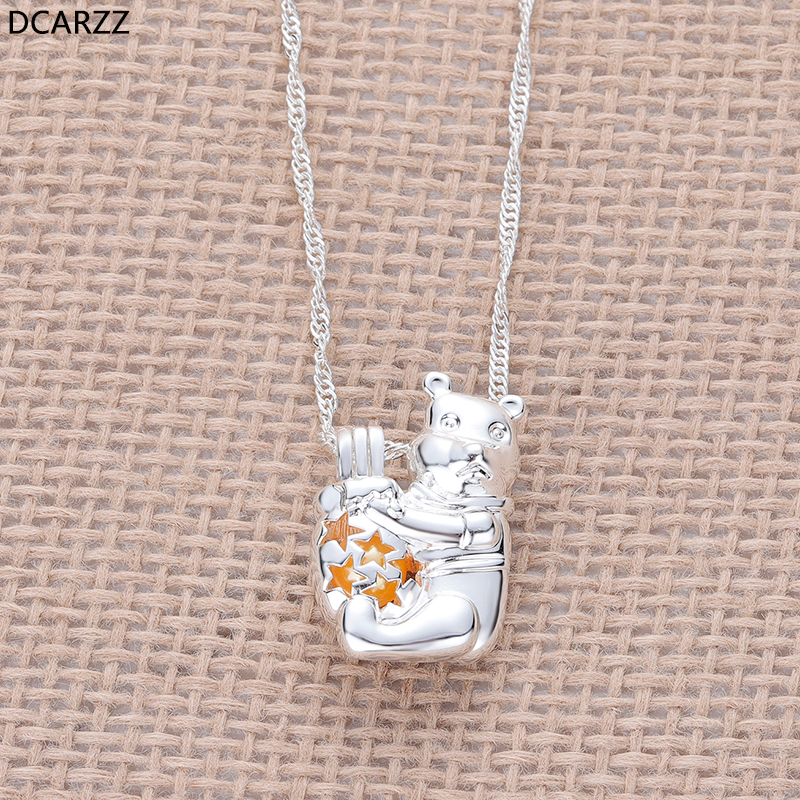 Cartoon Bear Necklace the Pearls Cage Locket Pendant Girls Gifts Silver Plated Winnie Necklace Kids DIY Jewelry Wholesale