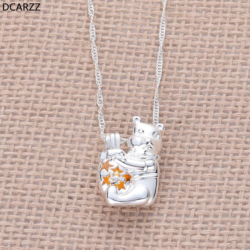 Dessin animé ourson collier les perles médaillon pendentif femmes filles cadeaux argent Winnie collier classique bijoux en gros-in Pendentifs from Bijoux et Accessoires    1
